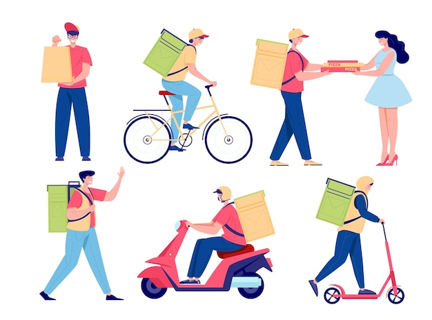 Cartoon food delivery set. young men deliver food on foot, by bicycle and by motorbike. pizza delivery, service boy and courier package flat style   illustration.