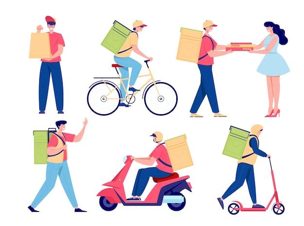 漫画の食品配達セット。若い男性は徒歩、自転車、バイクで食べ物を配達します。ピザの配達、サービスの少年と宅配便のパッケージフラットスタイルのイラスト。