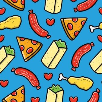 만화 음식 낙서 원활한 패턴 디자인