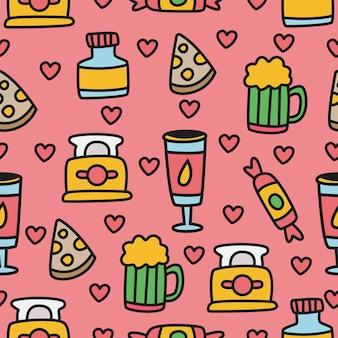 만화 음식 낙서 원활한 패턴