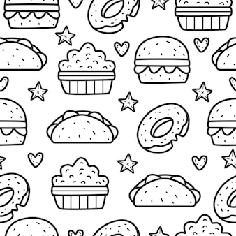 Cartoon food doodle seamless pattern