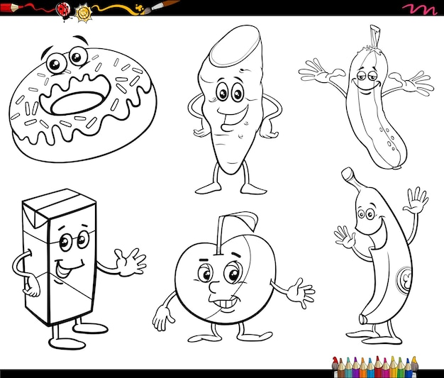 Cartoon food objects characters set coloring book page
