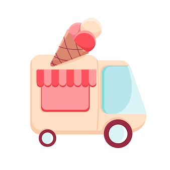 Cartoon food truck with ice cream street food van flat illustration in vector fast food delivery