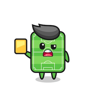 Cartoon football field character as a football referee giving a yellow card , cute style design for t shirt, sticker, logo element