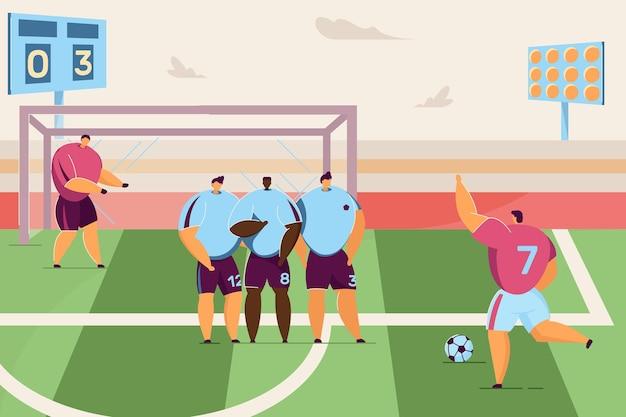 漫画のサッカー選手がペナルティフラットベクトルイラストを蹴る激しいサッカーの試合