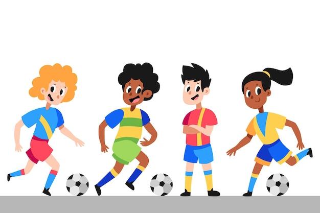 Collezione di giocatori di calcio dei cartoni animati
