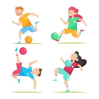 Cartoon football players set