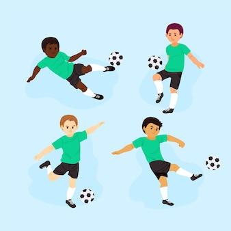 Set di giocatori di calcio dei cartoni animati