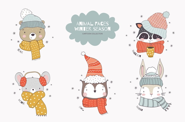 Cartoon forest animal christmas collection in knitted hats and scarf teddy bear raccoon mouse owl rabbit