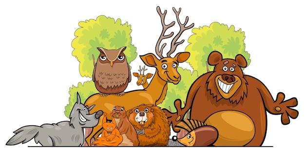 만화 숲 동물 그룹