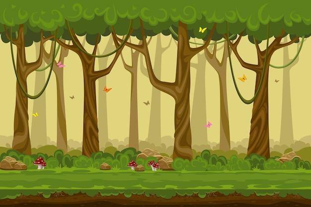 漫画の森の風景、コンピュータゲームの無限の自然の背景。自然の木、屋外植物緑、自然環境木材