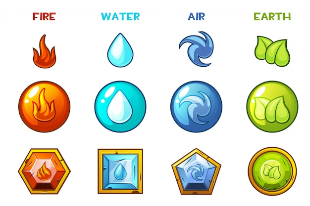 Cartoon four natural elements icons - earth, water, fire and air