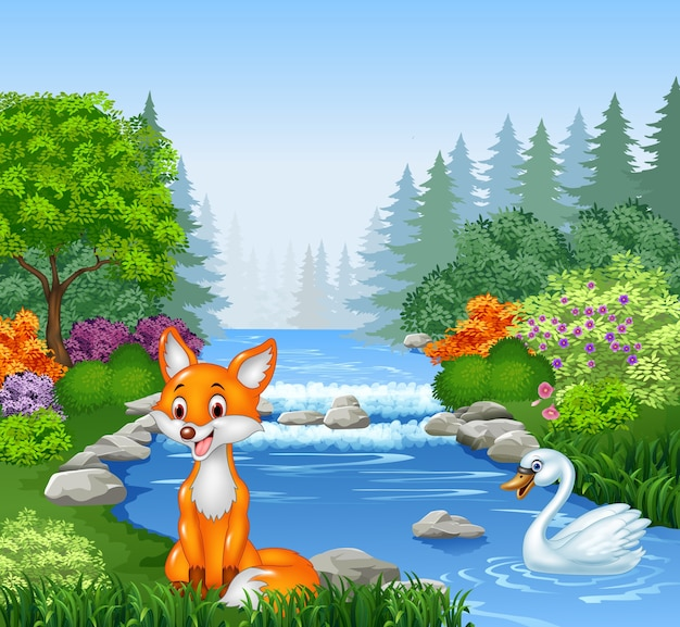Cartoon fox in beautiful river in forest