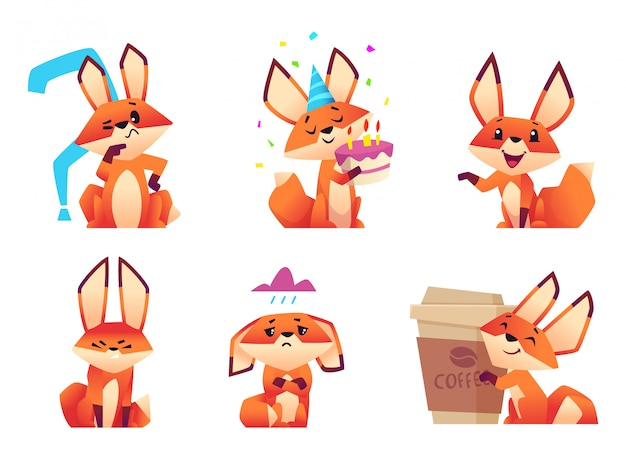 Cartoon fox characters, orange fluffy wild animals poses and emotions zoo s