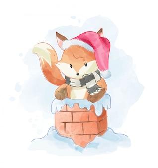 Cartoon fox in chimney illustration