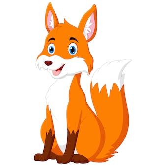 Cartoon the fox is sitting