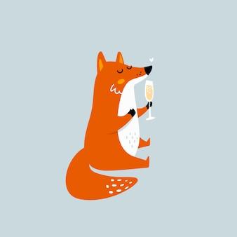 Cartoon fox with glass of wine
