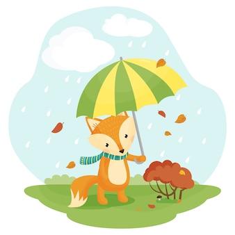 Cartoon fox with an umbrella. illustration