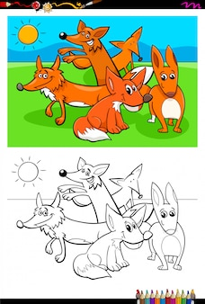 Cartoon of foxes animals coloring book