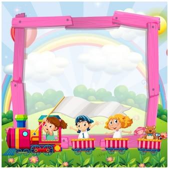 Cartoon frame with a train