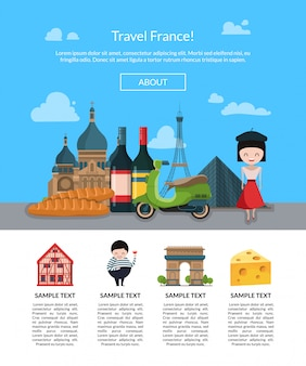 Cartoon france sights banner for landing page