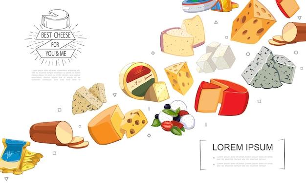 Cartone animato formaggio fresco ordina modello con gouda dorblu grano padano raclette danablu maasdam mozzarella cheddar feta formaggio affumicato Vettore gratuito