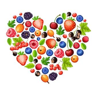 Концепция мультфильм свежие здоровые лесные ягоды