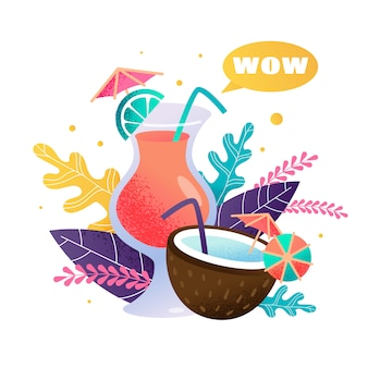 Cartoon fresh tropical cocktails in glass and coconut with citrus fruit