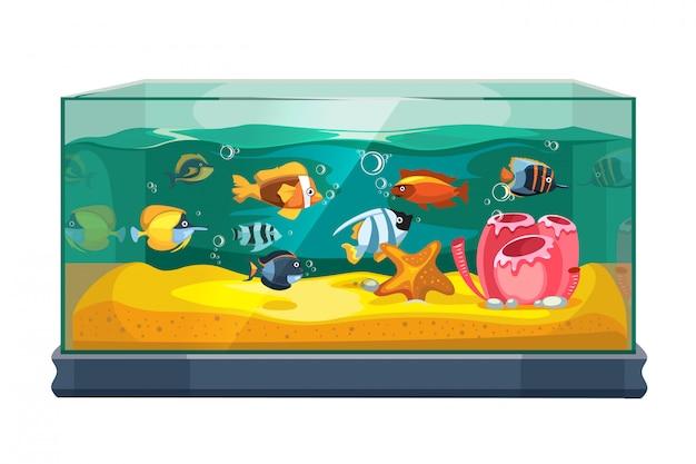 Мультфильм пресноводных рыб в аквариуме