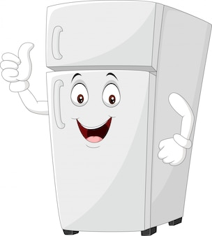 Cartoon fridge mascot giving thumbs up