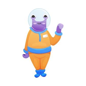 Cartoon friendly alien waving hand