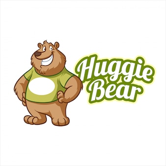 Cartoon friendly bear mascot logo