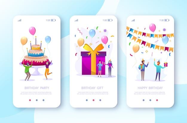 풍선과 선물로 생일을 축하하는 만화 친구