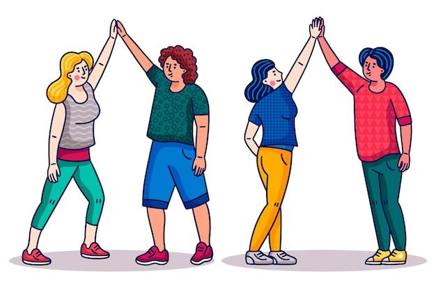 Cartoon friends giving high five