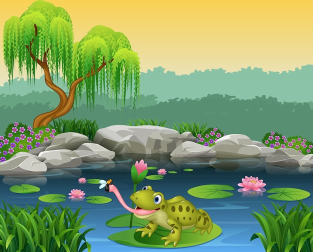 Cartoon frog catching fly on the lily water