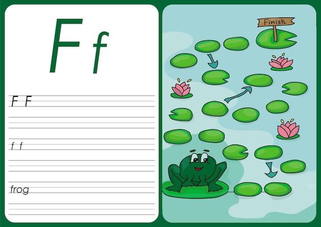 Игра мультяшная лягушка. векторные страницы для детей - f