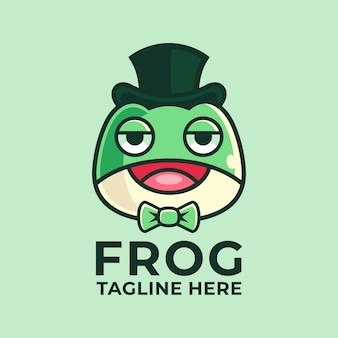Cartoon frog logo design template