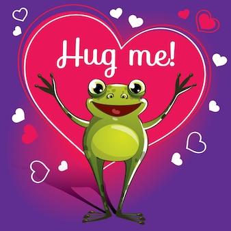 Мультяшная лягушка готова к объятиям. забавное животное. милый мультфильм домашнее животное на белом фоне. с надписью от руки фраза обними меня