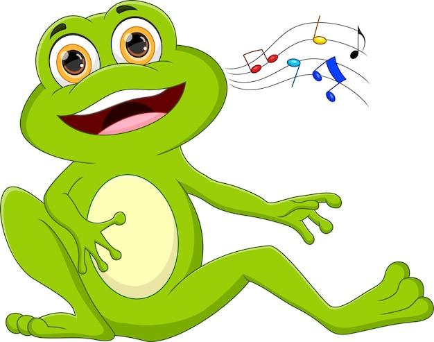Мультфильм лягушка поет на белом фоне