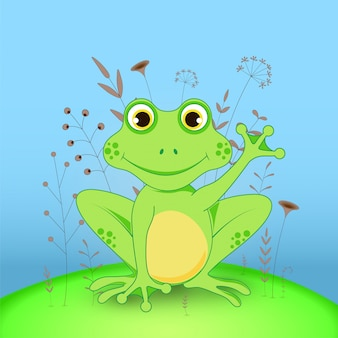 Cartoon frog with flowers