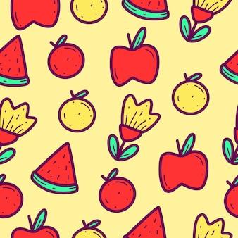 만화 과일 낙서 패턴 디자인 일러스트 레이션