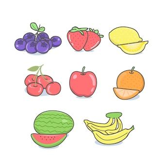 Cartoon fruit set and hand drawn style