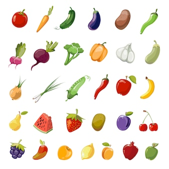 Cartoon fruit and vegetables organic healthy big icons collection