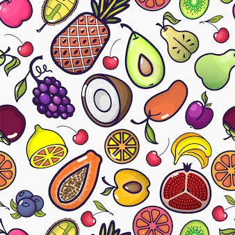 만화 과일과 열매 원활한 패턴 다채로운 과일