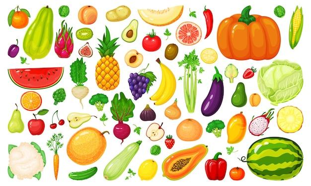 Набор мультяшных фруктов и овощей брокколи