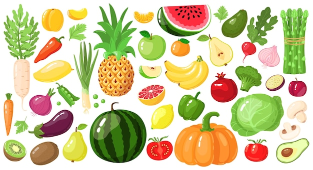 만화 과일과 야채. 채식주의 자 라이프 스타일 음식, 유기농 영양 야채 및 과일, 아보카도, 아스파라거스 및 망고 그림 세트. 수박과 파인애플, 사과와 바나나, 키위 과일