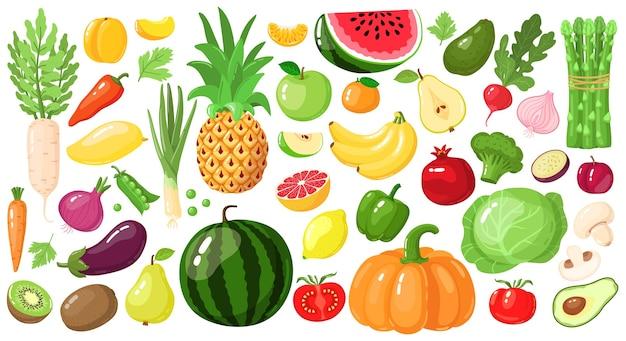 漫画の果物と野菜。ビーガンライフスタイルフード、有機栄養野菜と果物、アボカド、アスパラガス、マンゴーのイラストセット。スイカとパイナップル、リンゴとバナナ、キウイフルーツ