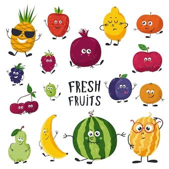 Cartoon fruits cute characters face