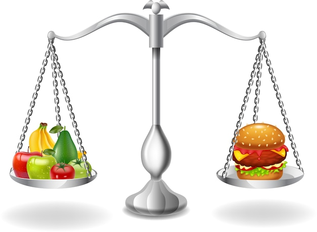 Cartoon fruits and hamburger balance on the scale