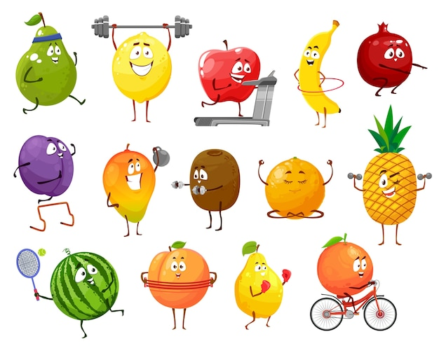Cartoon fruits sportsmen, vector pear, lemon and apple, banana, pomegranate and prune with mango